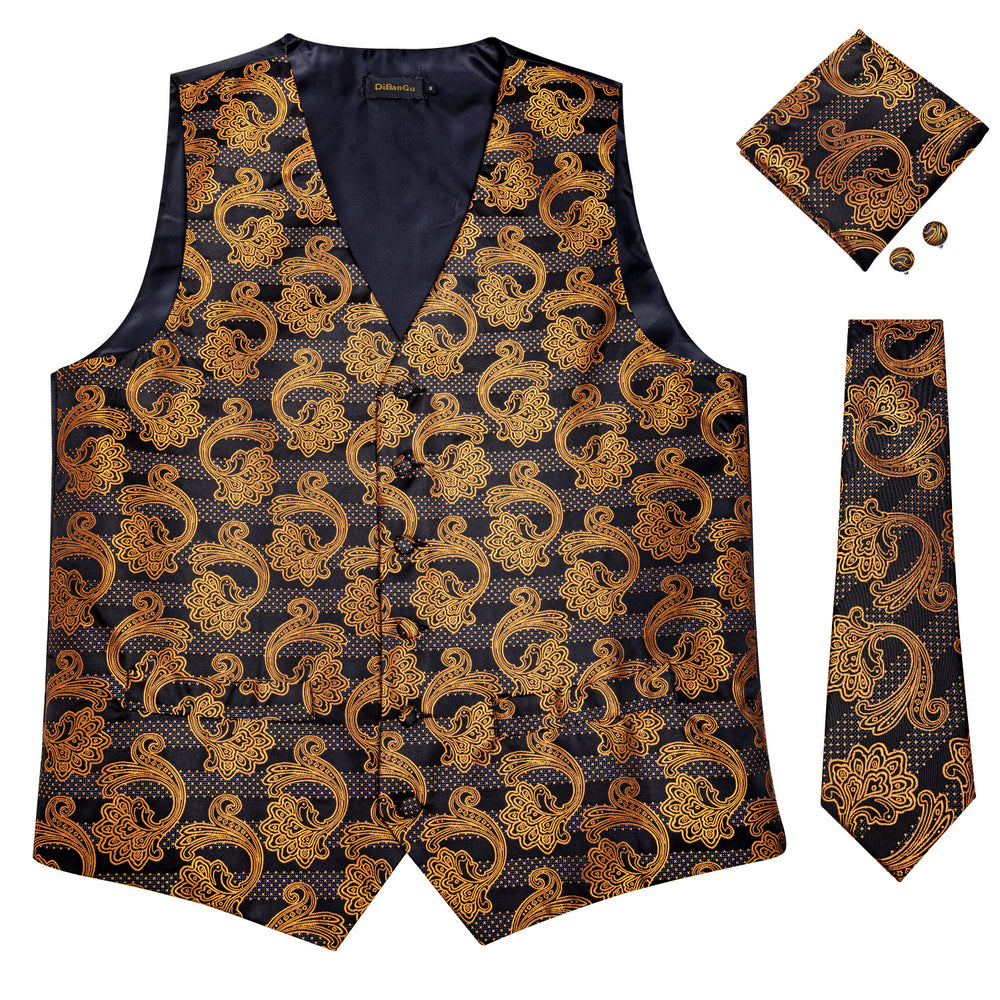 Load image into Gallery viewer, Men's Classic Brown Black Floral Jacquard Silk Waistcoat Vest Handkerchief Cufflinks Tie Vest Suit Set (4619707285585)