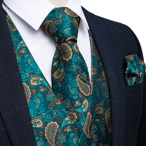 Load image into Gallery viewer, Men's Classic Teal Blue Paisley Jacquard Silk Waistcoat Vest Handkerchief Cufflinks Tie Vest Suit Set (4619711578193)