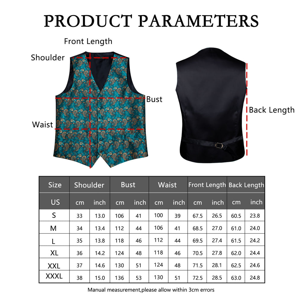 Load image into Gallery viewer, Men's Classic Teal Blue Paisley Jacquard Silk Waistcoat Vest Handkerchief Cufflinks Tie Vest Suit Set