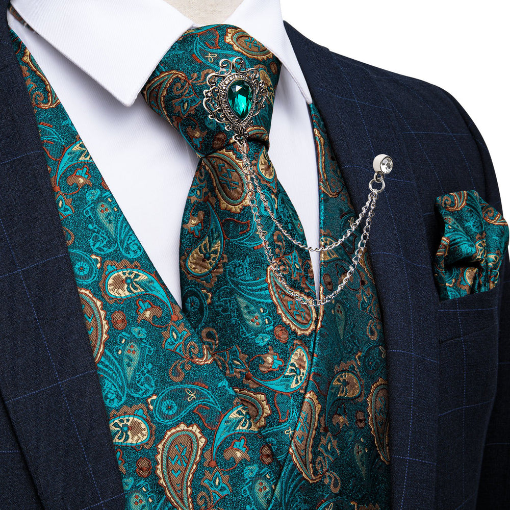 Men's Classic Teal Blue Paisley Jacquard Silk Vest Necktie Pocket square Cufflinks Gem Lapel Pin Set