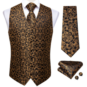 Load image into Gallery viewer, Men's Classic Gold Floral Jacquard Silk Waistcoat Vest Handkerchief Cufflinks Tie Vest Suit Set (4619715903569)