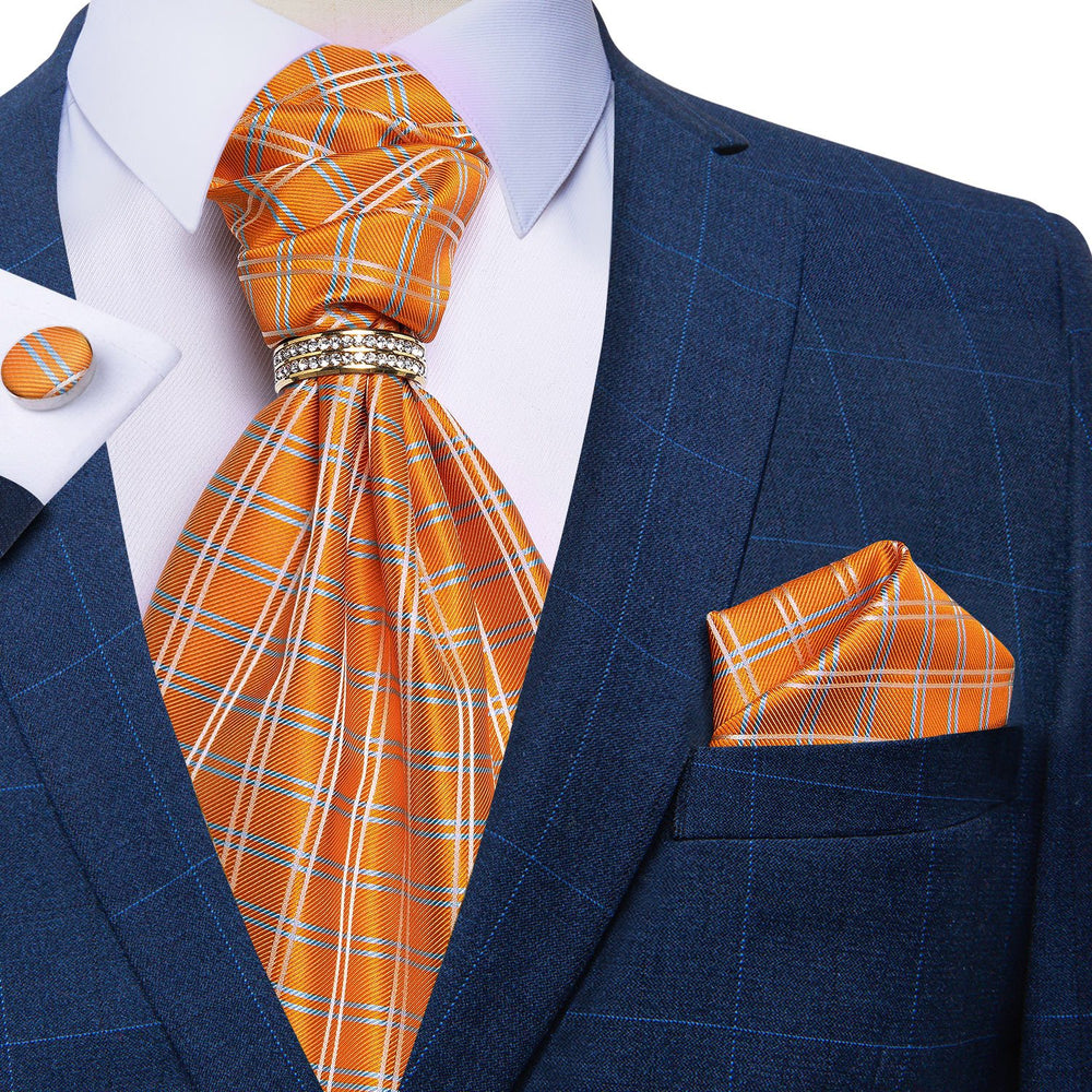 Load image into Gallery viewer, Orange Plaid Silk Cravat Woven Ascot Tie Pocket Square Cufflinks With Tie Ring Set (4667665481809)