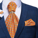 Orange Plaid Silk Cravat Woven Ascot Tie Pocket Square Cufflinks With Tie Ring Set