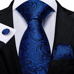 Royal Blue Paisley Tie Pocket Square Cufflinks Set