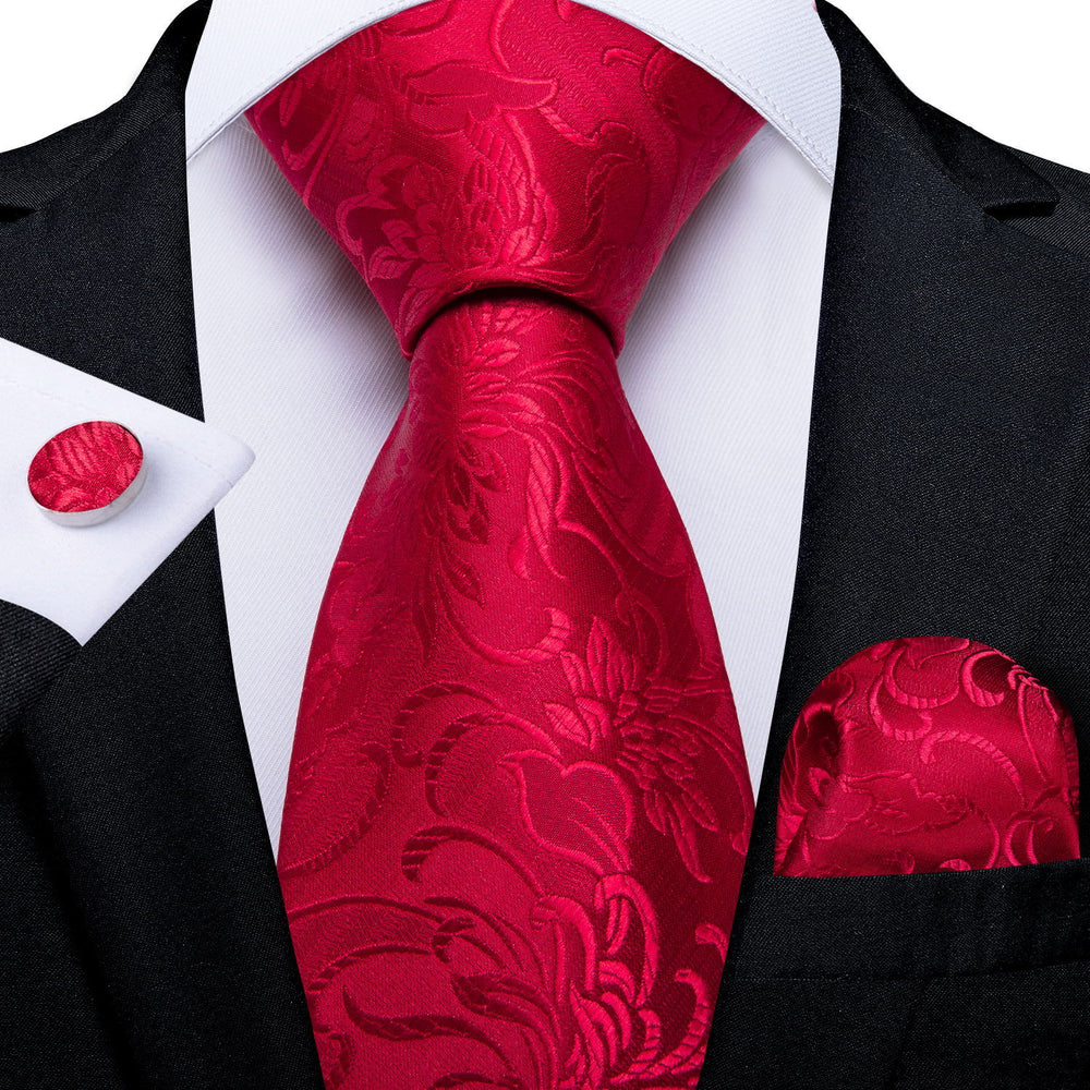 Red Floral Tie Pocket Square Cufflinks Set (575721340970)