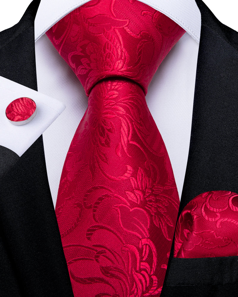 Load image into Gallery viewer, Red Floral Tie Pocket Square Cufflinks Set (575721340970)