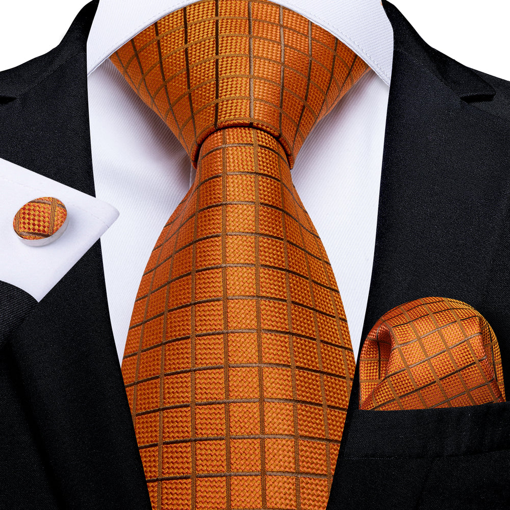 Orange Plaid Tie Pocket Square Cufflinks Set