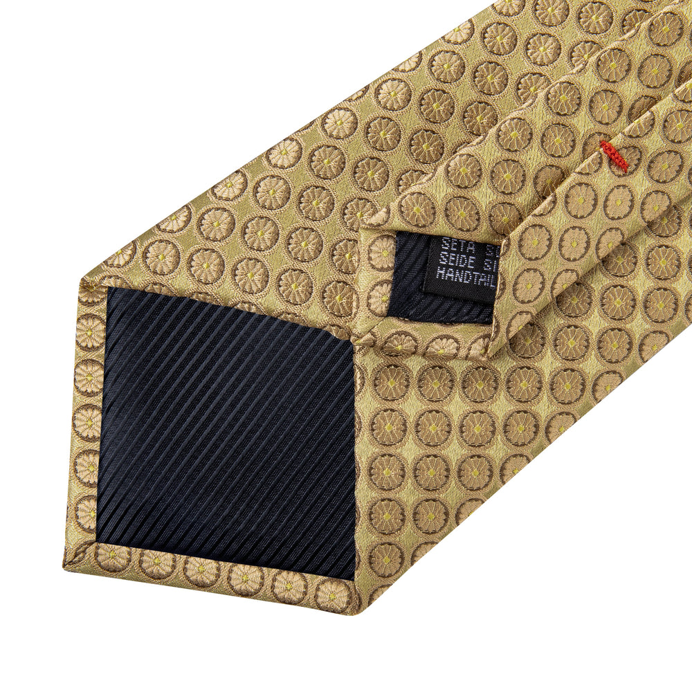Load image into Gallery viewer, Yellow Polka Dot Tie Pocket Square Cufflinks (577072562218)