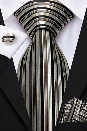 Brown Striped Tie Pocket Square Cufflinks Set