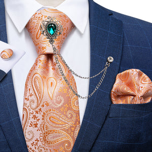 Light Orange Men's Paisley Necktie Handkerchief Cufflinks Set With GEM Lapel Pin Brooch Set