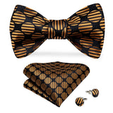 Black Brown Polka Dot Self-Bowtie Pocket Square Cufflinks Set