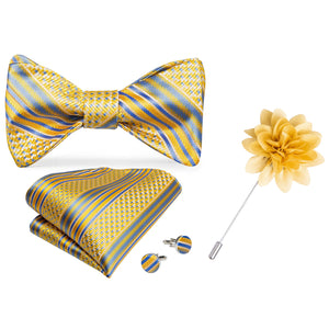 Load image into Gallery viewer, Gold Blue Plaid Self-Bowtie Pocket Square Cufflinks Set