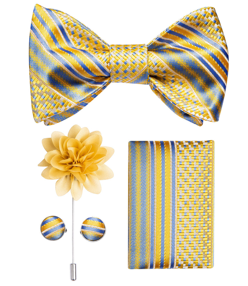 Gold Blue Plaid Self-Bowtie Pocket Square Cufflinks Set