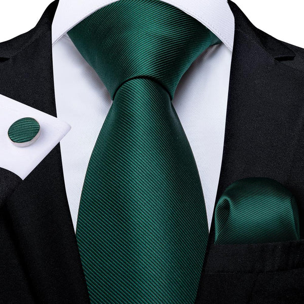 New Solid Darker Green Striped Tie Handkerchief Cufflinks Set