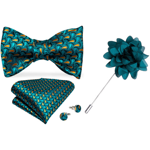 Teal Paisley Self-Bowtie Pocket Square Cufflinks Set