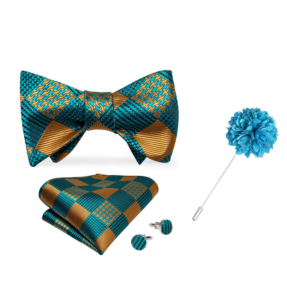 Teal Yellow Plaid Self-Bowtie Pocket Square Cufflinks Set