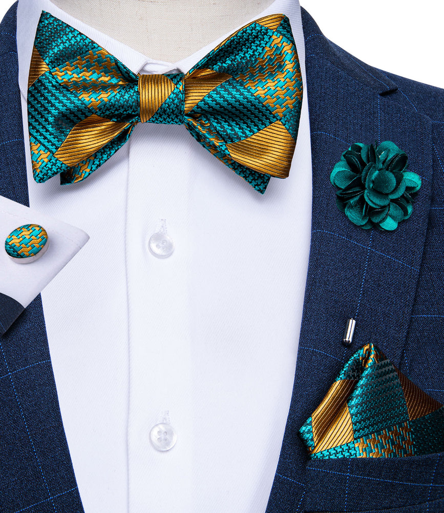Load image into Gallery viewer, Teal Yellow Plaid Self-Bowtie Pocket Square Cufflinks Set With Brooch