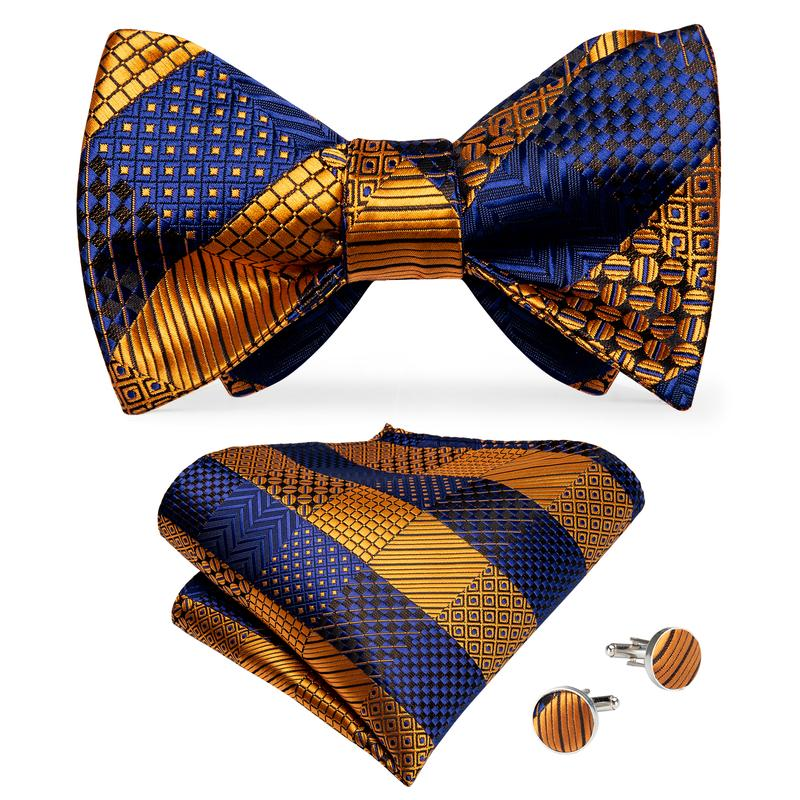 Yellow Blue Plaid Self-Bowtie Pocket Square Cufflinks Set