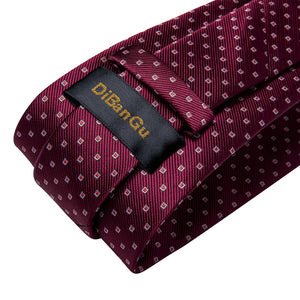 Red Geometric Tie Pocket Square Cufflinks Set (578550530090)