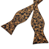 Black Yellow Floral Self-Bowtie Pocket Square Cufflinks Set