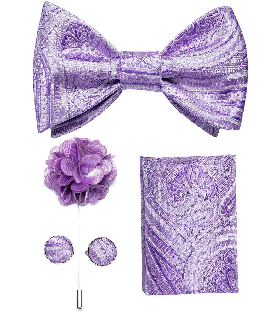 Purple Paisley Self-Bowtie Pocket Square Cufflinks Set With Brooch