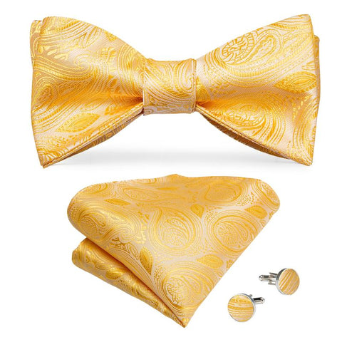 Gold Paisley Self-Bowtie Pocket Square Cufflinks Set