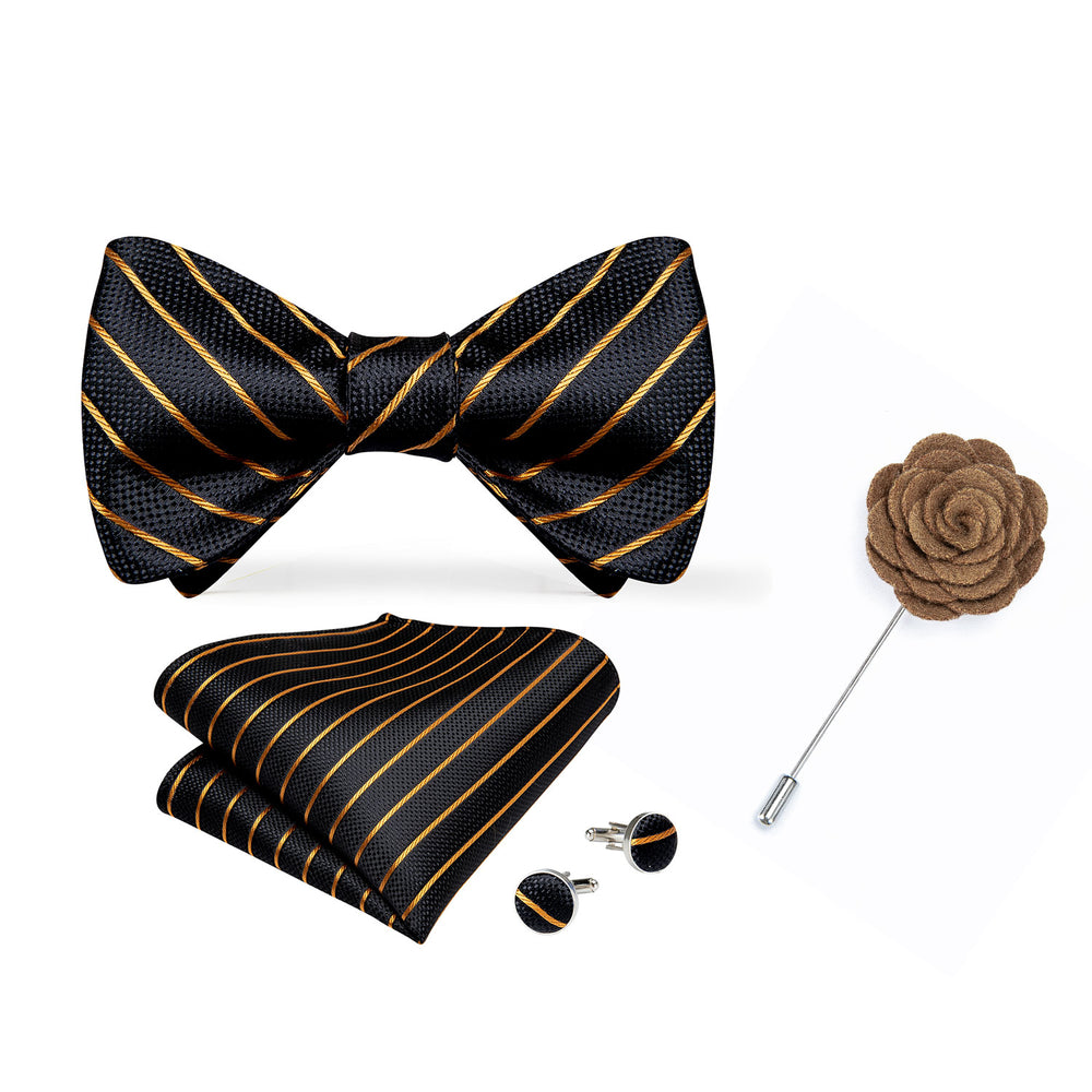 Black Gold Striped Self-Bowtie Pocket Square Cufflinks Set