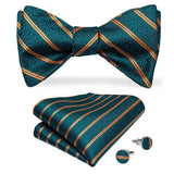 Teal Orange Striped Self-Bowtie Pocket Square Cufflinks Set