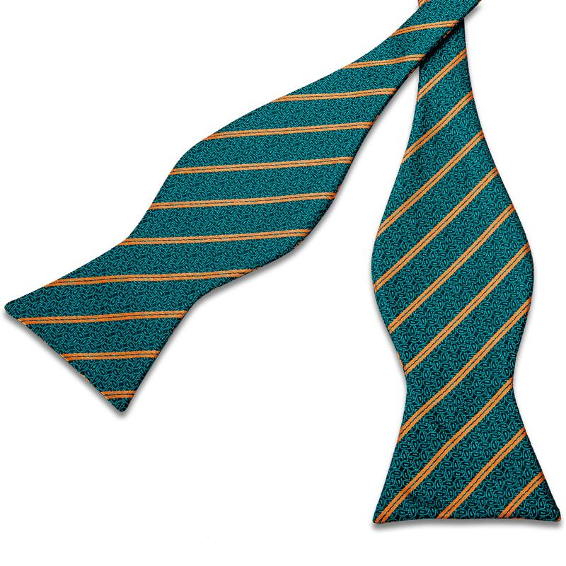 Load image into Gallery viewer, Teal Orange Striped Self-Bowtie Pocket Square Cufflinks Set
