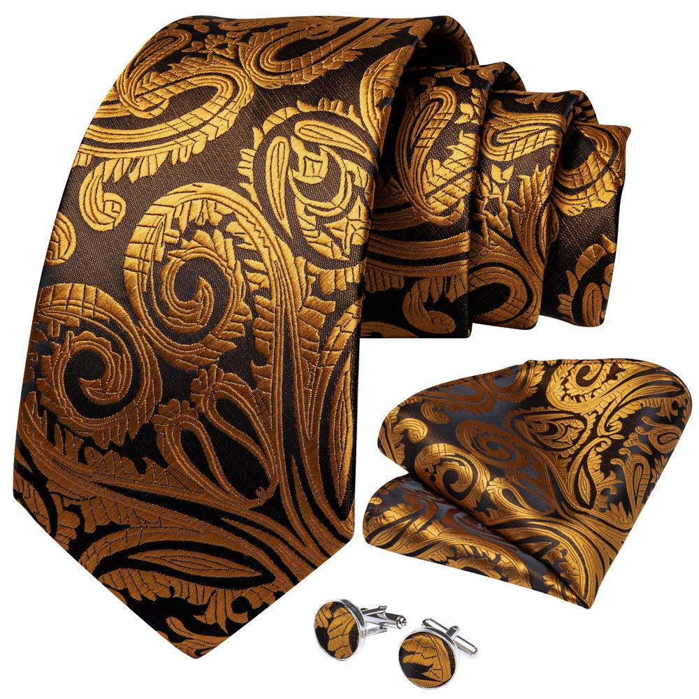 New Royal Yellow Paisley Tie Pocket Square Cufflinks Set