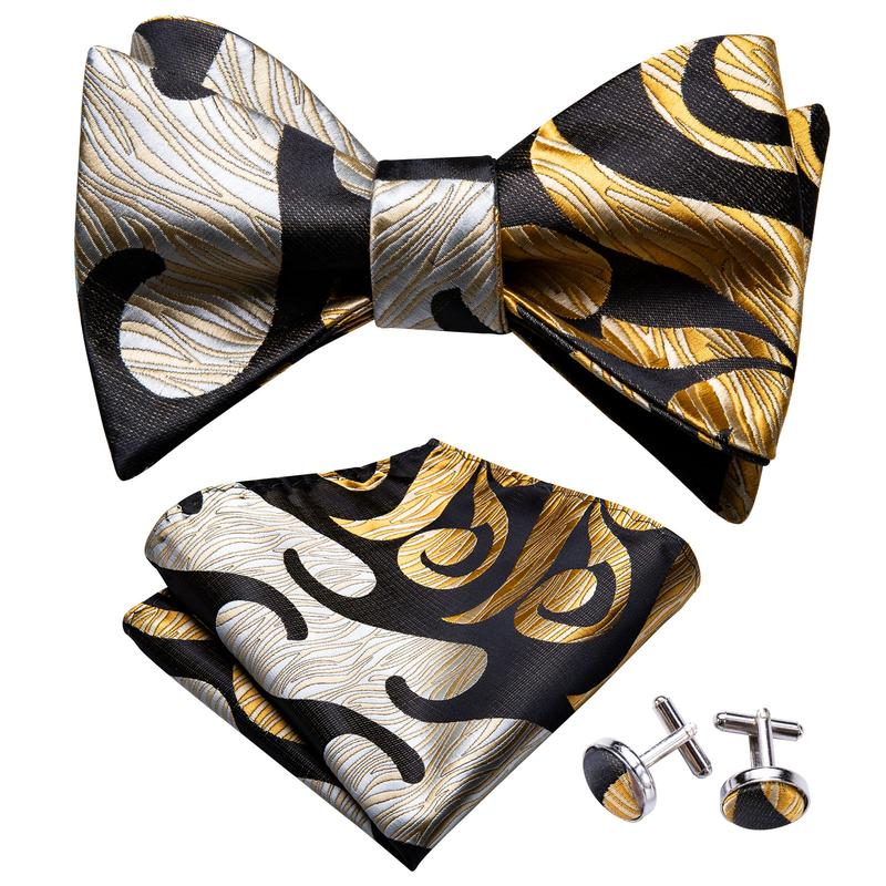 Yellow Black Paisley Self-Bowtie Pocket Square Cufflinks Set