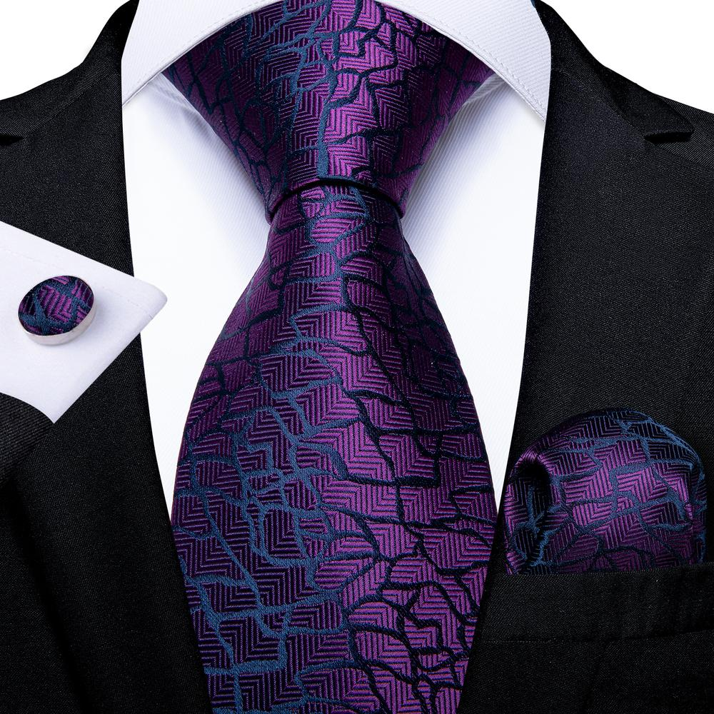 New Luxury Purple Novelty Tie Pocket Square Cufflinks Set