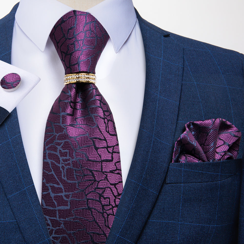 Load image into Gallery viewer, Novelty Purple Silk Men's 4PCS Tie Pocket Square Cufflinks With Tie Ring Set