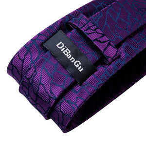Luxury Purple Novelty Silk Necktie Handkerchief Cufflinks Set With Lapel Pin Brooch Set