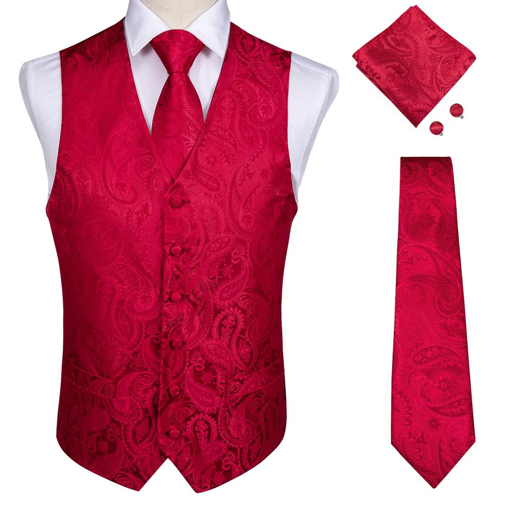 Load image into Gallery viewer, Men's Classic Red Paisley Jacquard Silk Waistcoat Vest Handkerchief Cufflinks Tie Vest Suit Set (1929660923946)