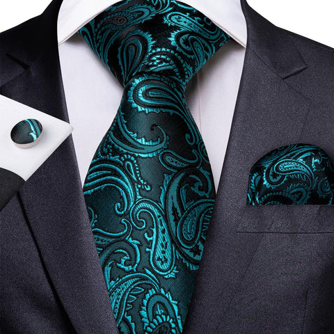Awesome Blue Paisley Tie Pocket Square Cufflinks Set
