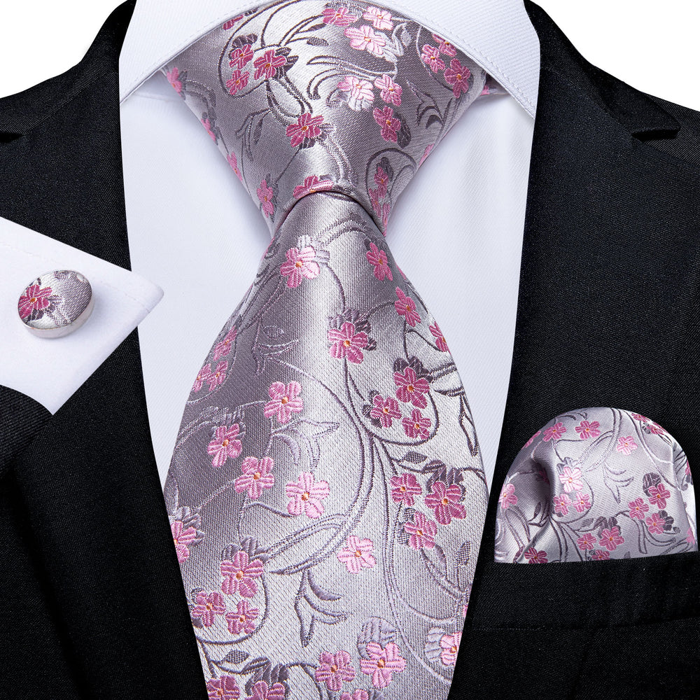 Sweet Pink Floral Tie Pocket Square Cufflinks Set