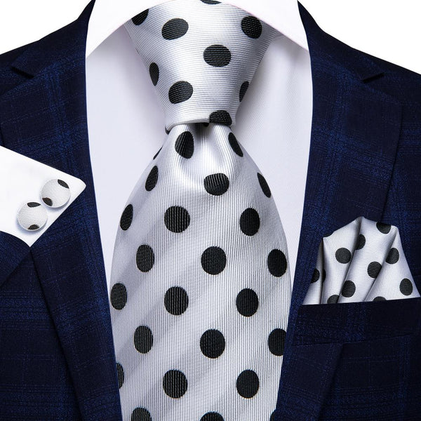 White Black Polka Dot Tie Handkerchief Cufflinks Set