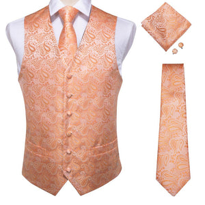 Load image into Gallery viewer, Men's Classic Orange Brown Paisley Jacquard Silk Waistcoat Vest Handkerchief Cufflinks Tie Vest Suit Set