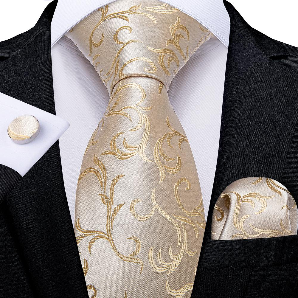 Load image into Gallery viewer, Gorgeous Beige Floral Tie Hanky Cufflinks Set