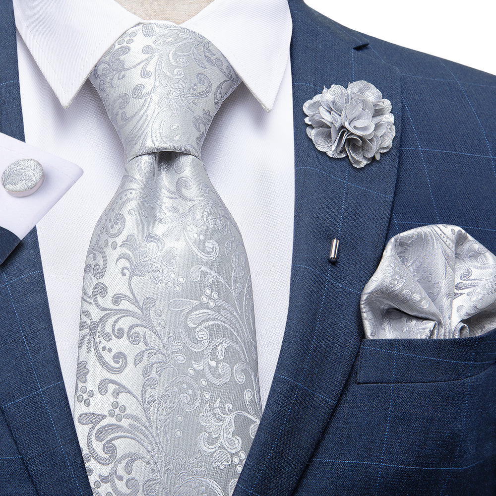 Grey Floral Silk Necktie Handkerchief Cufflinks Set With Lapel Pin Brooch Set