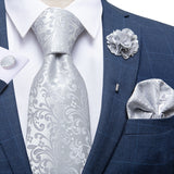 Grey Floral Tie Hanky Cufflinks Set With Lapel Pin
