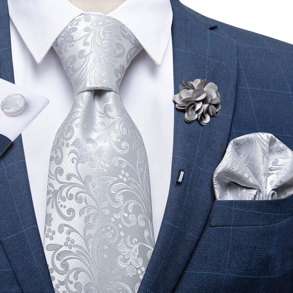 Load image into Gallery viewer, Silver Floral Silk Men's Necktie Handkerchief Cufflinks Set With Lapel Pin Brooch Set
