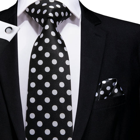 Black White Polka Dot Tie Hanky Cufflinks Set