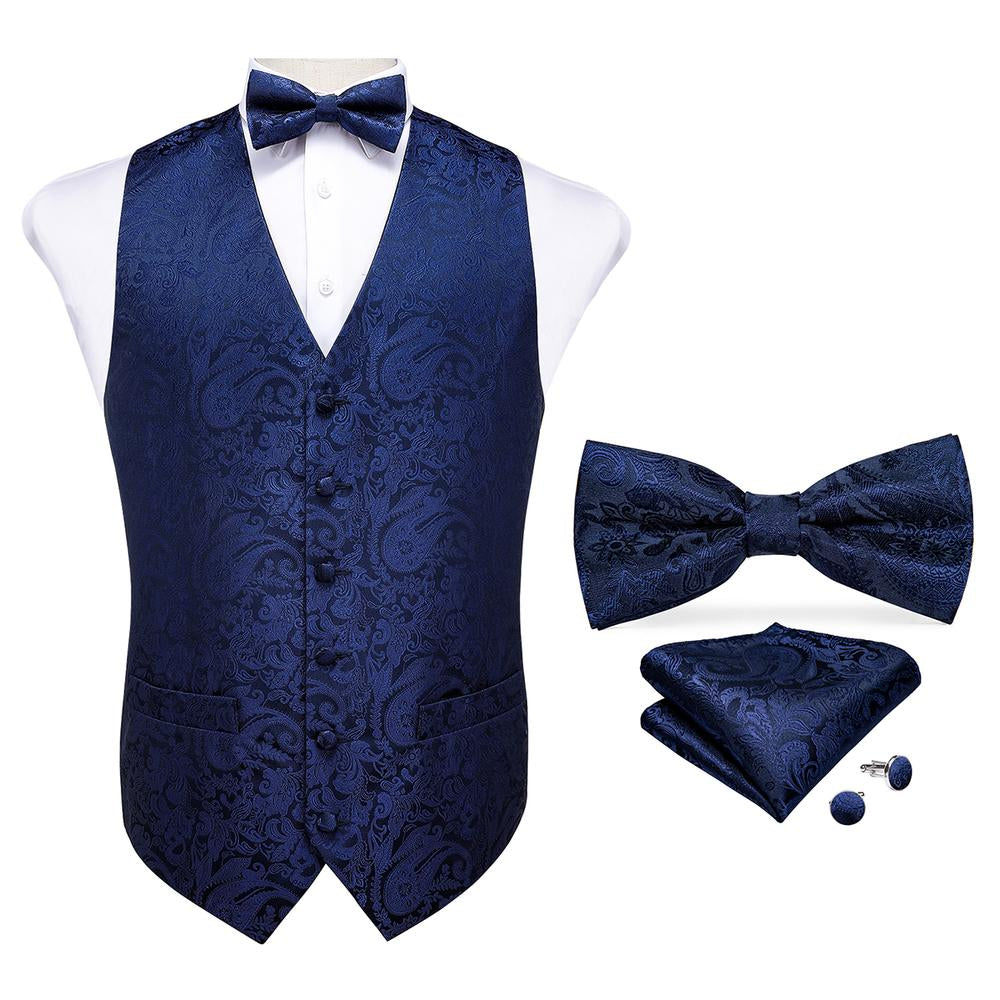 Load image into Gallery viewer, Men's Classic Navy Blue Paisley Jacquard Silk Waistcoat Vest Handkerchief Cufflinks Bow-Tie Vest Suit Set (4610676785233)