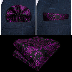 Load image into Gallery viewer, Men's Black Purple Paisley Jacquard Silk Waistcoat Vest Handkerchief Cufflinks Bow-Tie Vest Suit Set