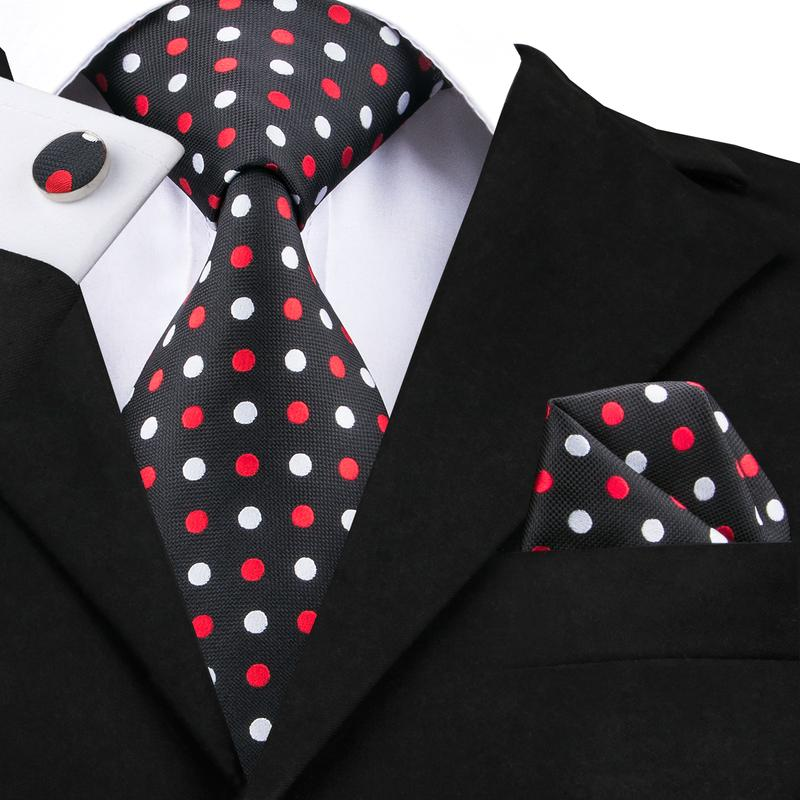 Black Red Polka Dot Tie Hanky Cufflinks Set