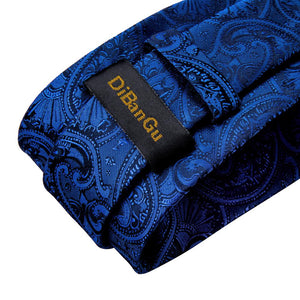 Load image into Gallery viewer, Royal Blue Paisley Tie Ring Pocket Square Cufflinks Set