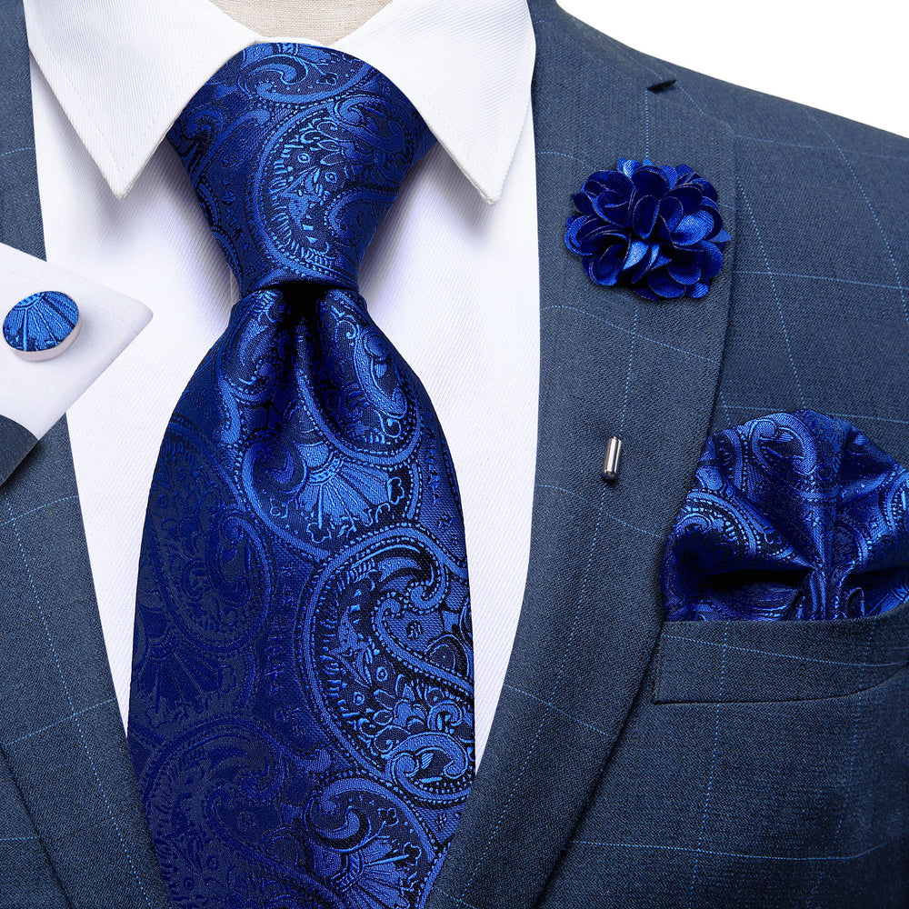Royal Blue Paisley Necktie Handkerchief Cufflinks Set With Lapel Pin Brooch Set