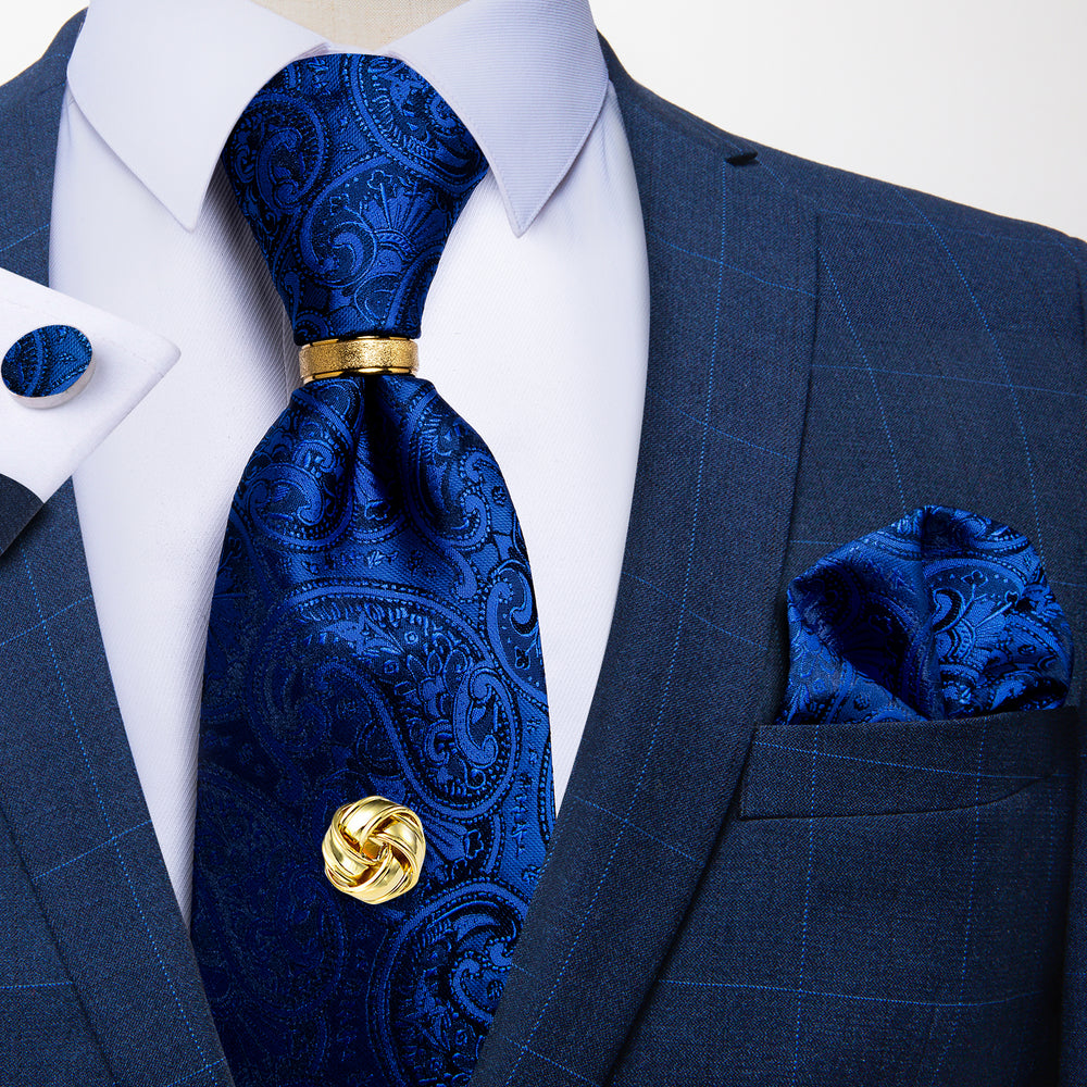 5PCS Blue Paisley Tie Pocket Square Cufflinks with Tie Ring Tack Set